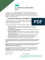 """Call for September 2015 Pharmacy Education Newsletter """"PEN"""""""