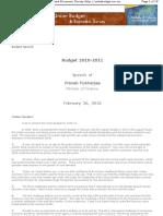 Indian Union Budget 2010-2011-Speech of Pranab Mukherjee