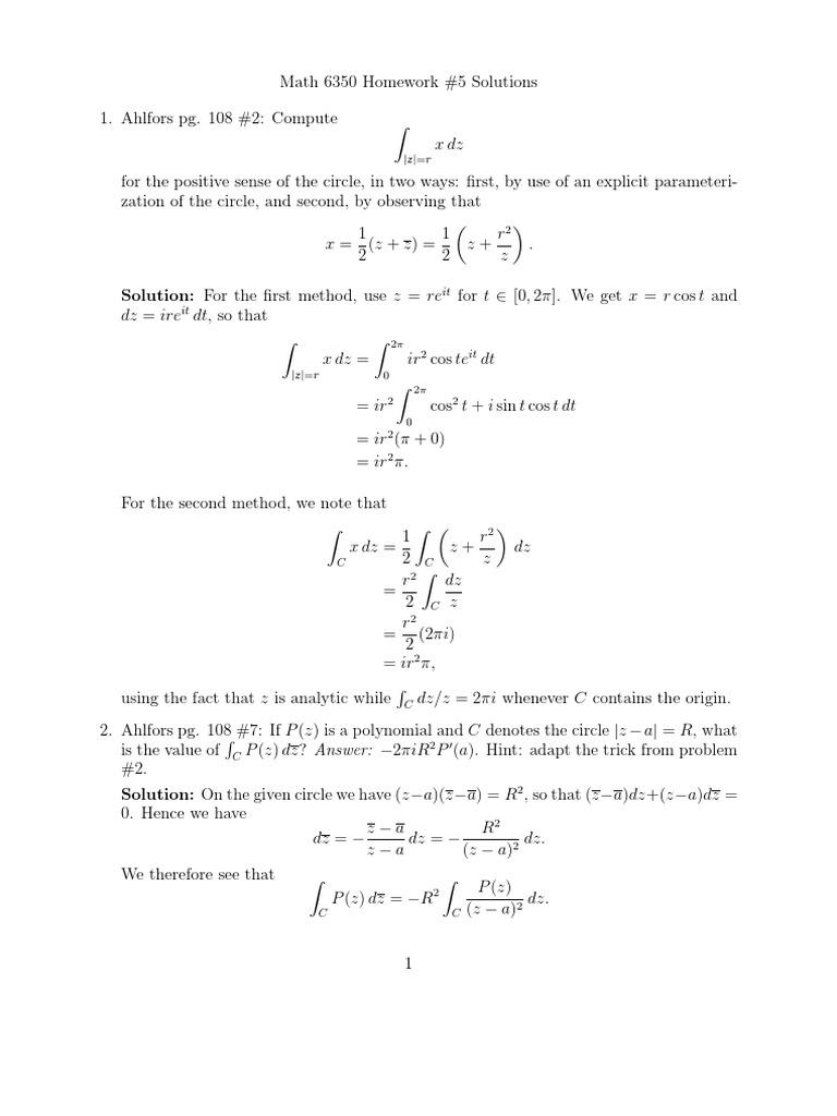 ahlfors homework solutions