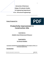 Productivity Improvement in Construction Site. Modification to Proposal