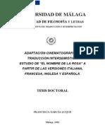 Adaptación cinematográfica y traducción intersemiótica. Estudio de El nombre de la rosa a partir de las versiones italiana, francesa, inglesa y española
