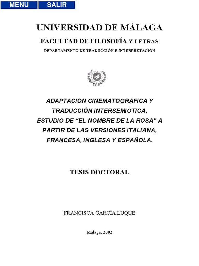 Adaptación cinematográfica y traducción intersemiótica. Estudio de ...