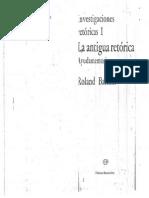 Barthes, R (1970) Investigaciones Retóricas I La Antigua Retórica Ayudamemoria