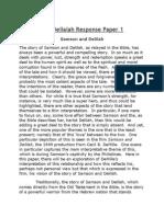 Samson and Delialah Response Paper 1