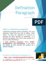 Defination Paragraph