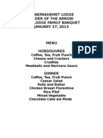 2015 Family Banquet Menu