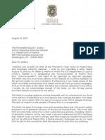 Carta de AGP a Casa Blanca