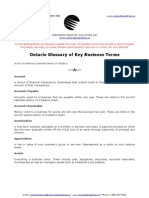 Ontario Glossary of Key Business Terms