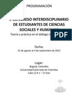 Programación II Congreso Interdisciplinario de Estudiantes de Ciencias Sociales y Humanas