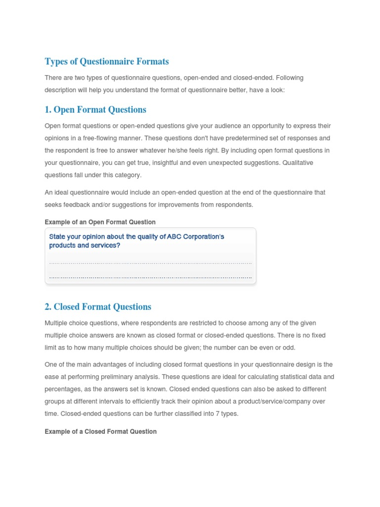 Types Of Questionnaire Formats Questionnaire Likert Scale