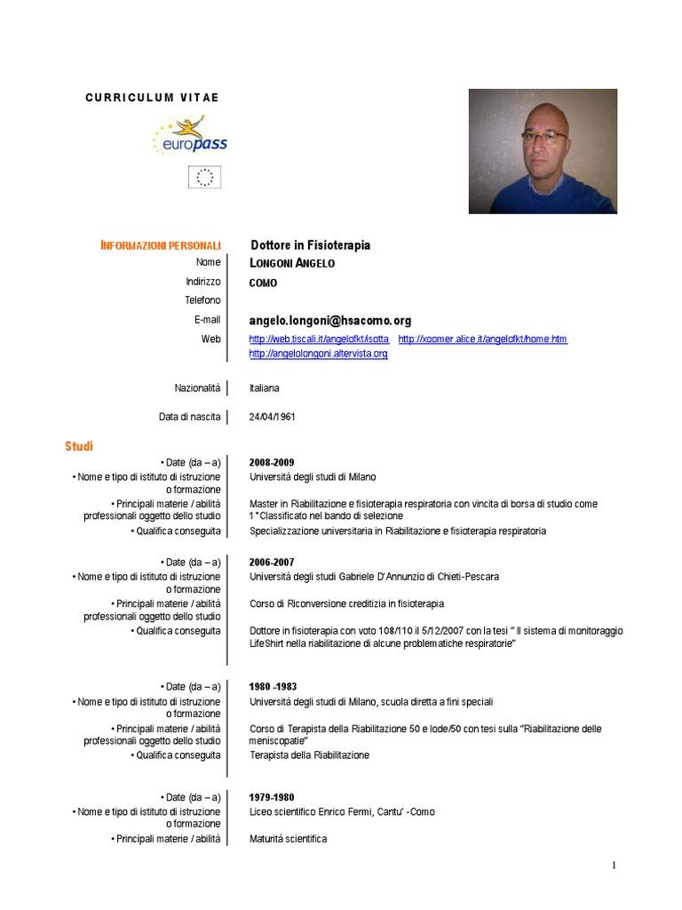 Curriculum Angelo Longoni