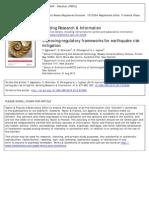Improving Regulatory Frameworks for Earthquake Risk Mitigation