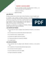 Fuentes y Usos Del Dinero