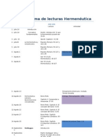 Cronograma de Lecturas Hermenéutica 2013-2