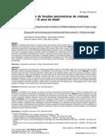 Avaliação de funções psicomotoras de crianças entre 6 e 10 anos de idade