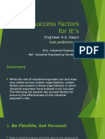 Key Success Factors for IE's