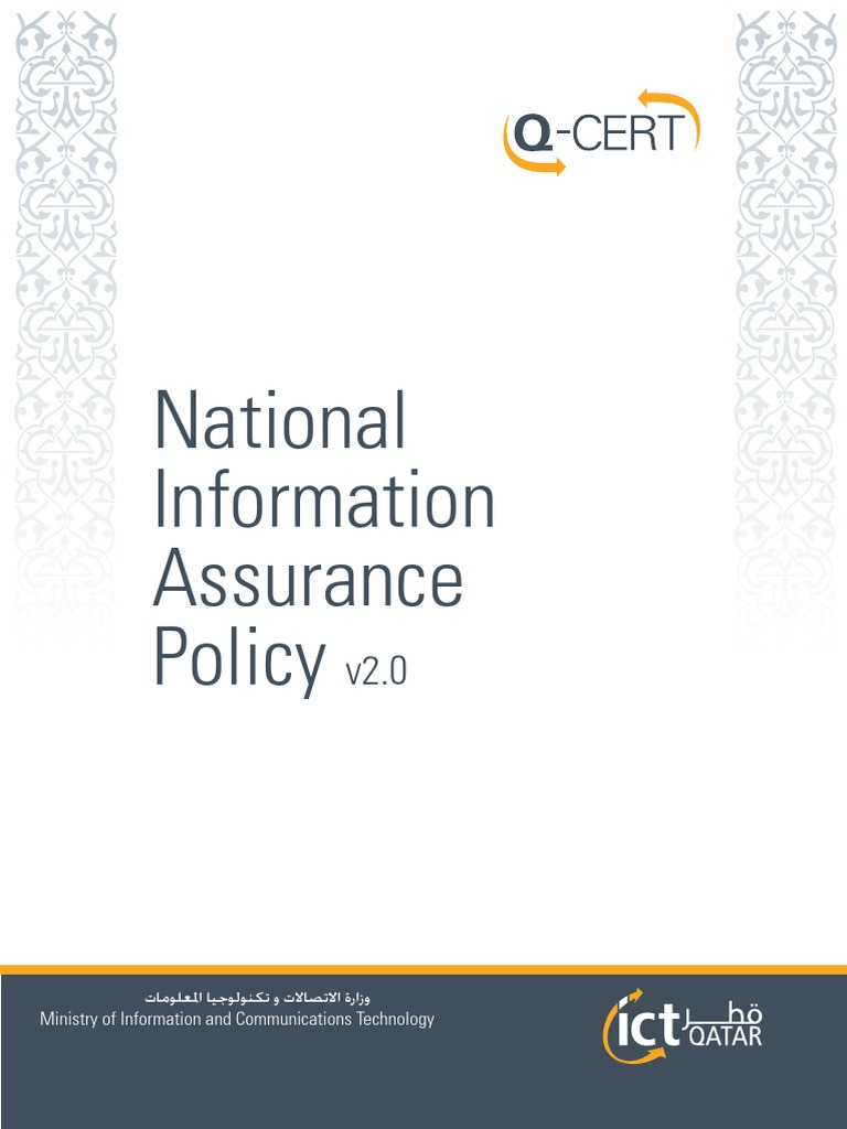 IctQATAR-NIA Policy English V2 0 | Information Security