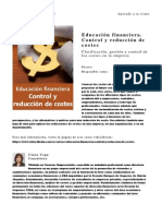 Educacion Financiera Control y Reduccion de Costes