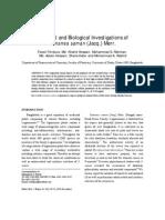 Chemical and Biological Investigations of Samanea Saman (Jacq.) Merr.