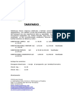 TARIFARIO EN HOTEL DEL PERU