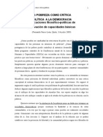 F Ponce, La Pobreza Como Crítica a La Democracia