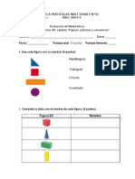 Evaluación Matemáticas Segundo Básico Figuras, Patrones y Secuencias