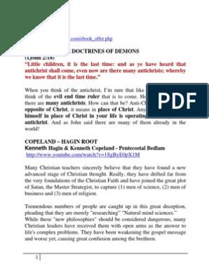 WORD OF FAITH DOCTRINES OF DEVILS pdf | Antichrist | Jesus