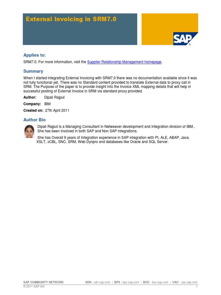 External Invoicing in SRM7 0 (SAP Wiki) | Invoice | Proxy Server