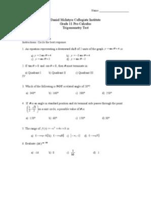 Grade 11 Trigonometry Test   Trigonometric Functions   Sine