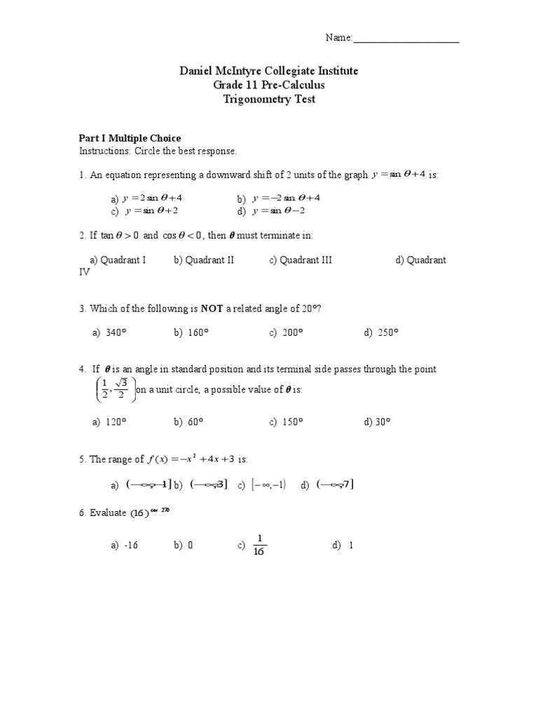Grade 11 Trigonometry Test | Trigonometric Functions | Sine