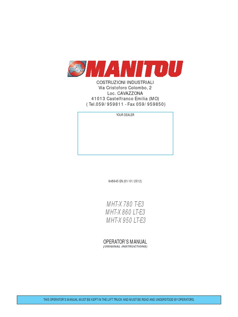 Operator Manual Mht X 780 T E3 648645en 100 Elevator Code 3 Led 2100 Wiring Diagram Trailer Vehicle