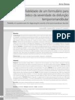 Artigo Confiabilidade de Um Formulário Para Diagnóstico Da Severidade Da Disfunção Temporomandibular