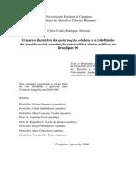 O marco discursivo da participação solidária e a redefinição da questão social