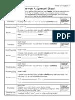 Week of Aug 24 Homework Sheet + Letterland Unit 35 List