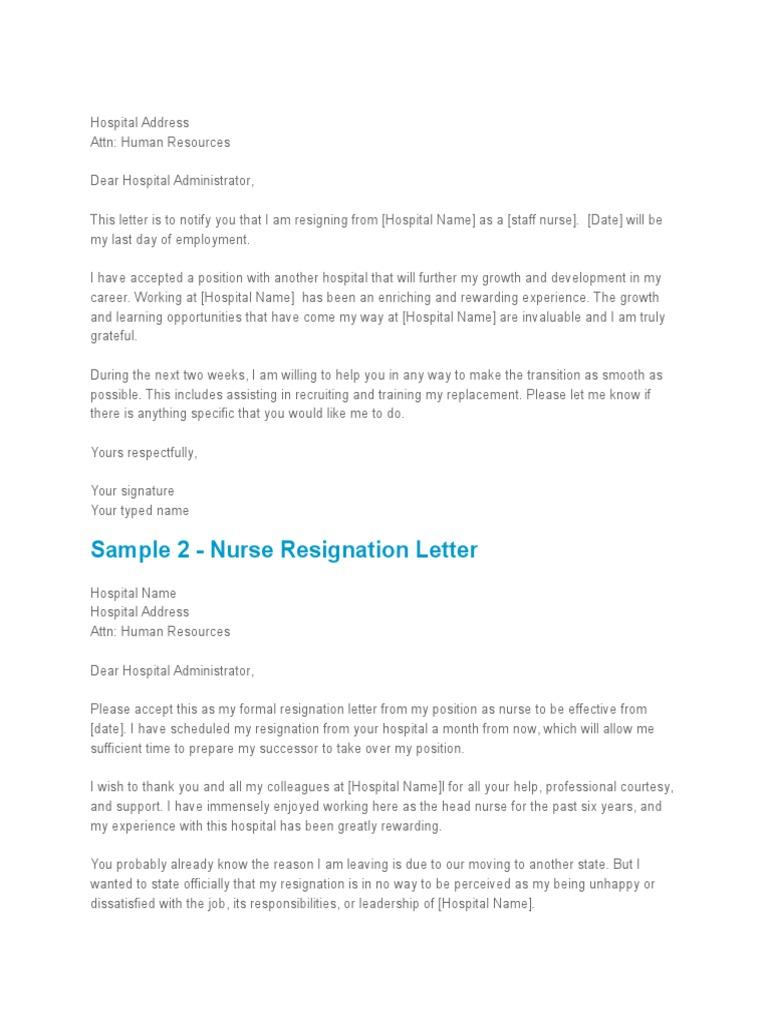 Exit letter   Nursing   Employment