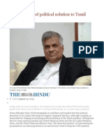 Ranil Hopeful of Political Solution to Tamil Question