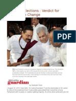 Sri Lanka Elections Verdict for Progressive Change