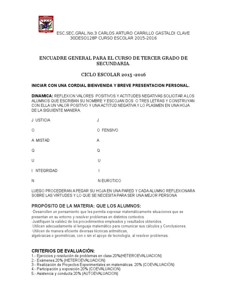 Encuadre General Para Matemáticas de Tercer Grado de Secundaria