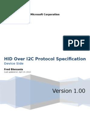 Hid Over i2c Protocol Spec v1 0 | Usb | Device Driver