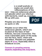 A pimple is a small pustule or papule.docx