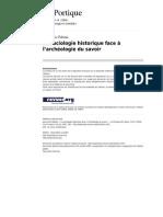 La Sociologie Historique Face à l'Archéologie Du Savoir