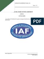 IAF-ML-04-001A QMS MLA License Agreement Annex A