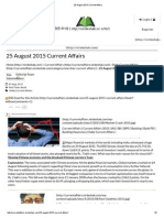 25 August 2015 Current Affairs