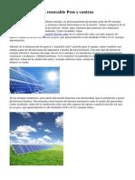 Fuentes de energ?a renovable Pros y contras