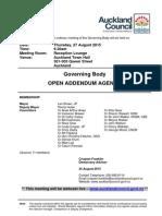 Governing Body - August 2015 - Addendum Agenda