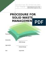 Procedure for Solid Waste Magt