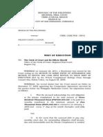 Writ of Execution - Criminal Case