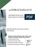 Metode Penilaian Kelayakan Investasi