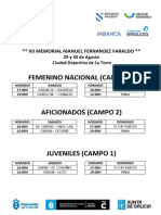 Calendario Torneo F. FARALDO 2015