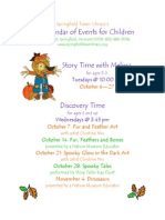 Springfield Town Library's Fall Calendar of Events for Children
